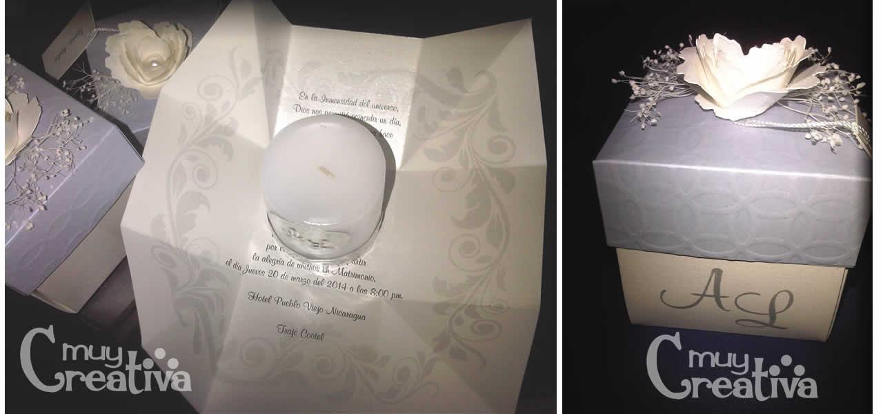 para boda boda tarjeta caja con vela