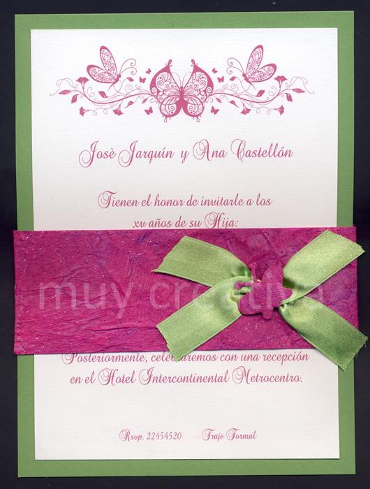 atarjeta-15 años-verde rosa02 | Manualidades y Diseños de Muy Creativa
