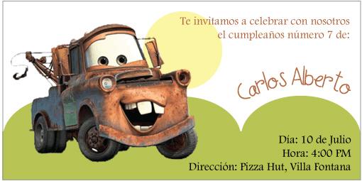 Tarjetas cumpleaños cars - Imagui